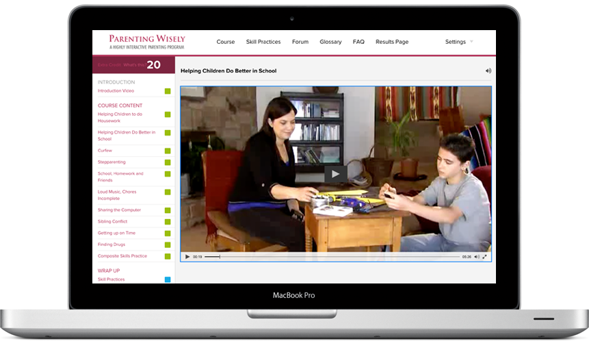 Screenshot of Parenting Wisely course inside of a laptop